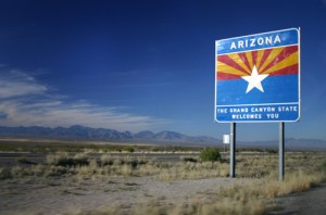 photo of Arizona desert landscape and state sign The Grand Canyon State Welcomes You - Arizona Addiction Interventions