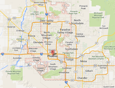 map of Phoenix Arizona | Phoenix Intervention Services