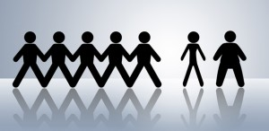 image of stick figures holding hands and a thin and thick stick figure separate from the group - Freedom Interventions - Eating Disorder Interventions